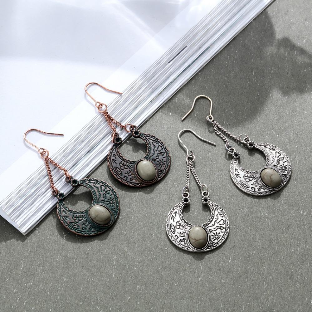 Gypsy Bohemian Crescent Dangle Drop Earrings - Crescent Opal Dangle Drop Earrings - Half Moon Dangle Earrings - Dangling Earrings - Geometric Dangle Earrings - Crescent Shaped Opalite Dangle Earrings - Dangle Drop Earrings Lux & Rose