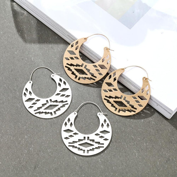 Half Moon Tribal Hoop Earrings - Half Moon Hoop Earrings - Half Circle Hoop Earrings - Gypsy Earrings - Brass Tribal Hoop Earrings - Hoop Earrings - Tribal Hoop Earrings - Geometric Hoop Earrings Lux & Rose