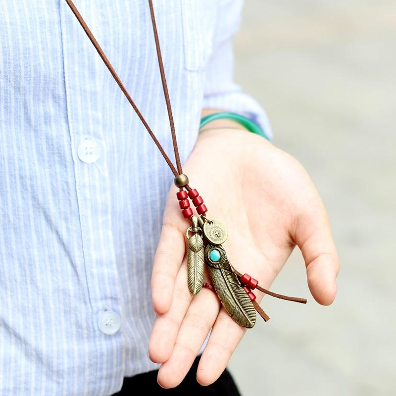 Handmade Leather Suede Lace Necklace - Feather Pendant Leather Necklace - Long Rope Pendant Necklace - Vintage Feather Opal Necklace - Wooden Beaded Necklace - Coin Pendant Necklace - Leather Coin Pendant Necklace Lux & Rose