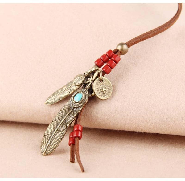 Handmade Leather Suede Lace Necklace - Feather Pendant Leather Necklace - Long Rope Pendant Necklace - Vintage Feather Opal Necklace - Wooden Beaded Necklace - Coin Pendant Necklace - Leather Coin Pendant Necklace Lux & Rose Bronze