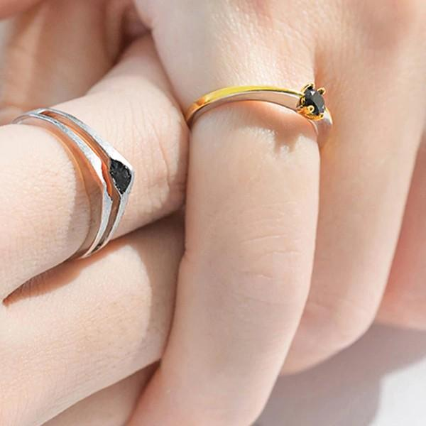 Sterling Silver Gold Black Crystal Couple Rings - 925 Real Silver Couple Rings - Adjustable Ring Set