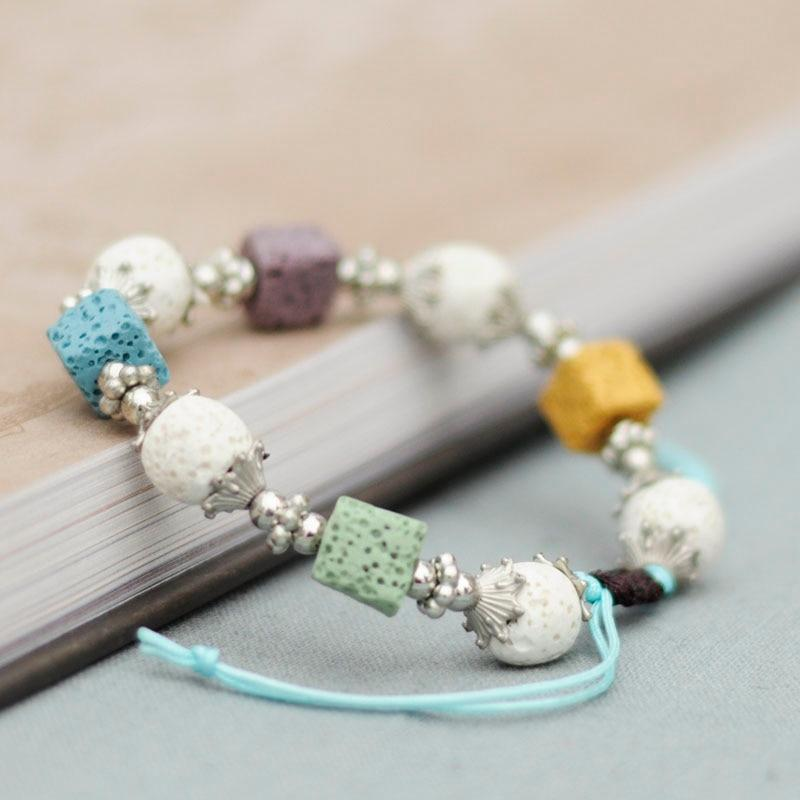 Lava Diffuser Stone Beads Bracelet - Women Beautiful Bracelet - Nature Stone Bracelet - Colorful Stone Bracelet Lux & Rose