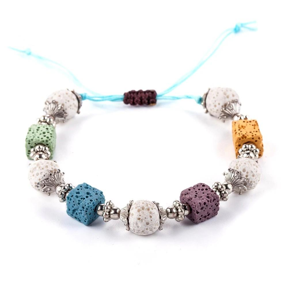Lava Diffuser Stone Beads Bracelet - Women Beautiful Bracelet - Nature Stone Bracelet - Colorful Stone Bracelet Lux & Rose Default Title