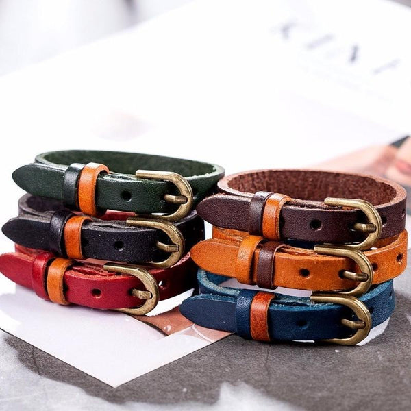 Leather Buckle Narrow Bracelet - Adjustable Leather Bracelet - Genuine Leather Bracelet - Vintage Leather Bracelet - Black Leather Bracelet - Blue Leather Bracelet - Brown Leather Bracelet - Orange Leather Bracelet - Red Leather Bracelet Lux & Rose
