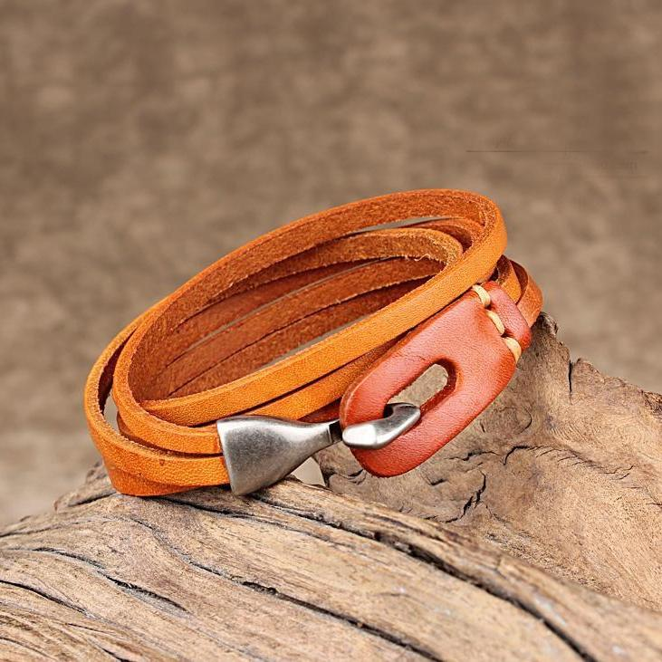 Leather Hook Bracelet - Two Layer Leather Hook Bracelet - Couple Leather Hook Bracelet - Black Leather Bracelet - Blue Leather Bracelet - Brown Leather Bracelet - Green Leather Bracelet - Orange Leather Bracelet - Red Leather Bracelet Lux & Rose