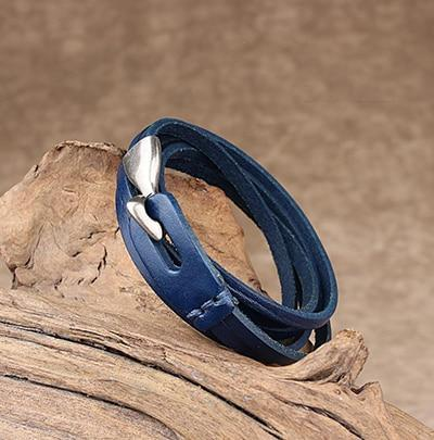 Leather Hook Bracelet - Two Layer Leather Hook Bracelet - Couple Leather Hook Bracelet - Black Leather Bracelet - Blue Leather Bracelet - Brown Leather Bracelet - Green Leather Bracelet - Orange Leather Bracelet - Red Leather Bracelet Lux & Rose Blue