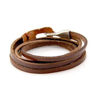 Leather Hook Bracelet - Two Layer Leather Hook Bracelet - Couple Leather Hook Bracelet - Black Leather Bracelet - Blue Leather Bracelet - Brown Leather Bracelet - Green Leather Bracelet - Orange Leather Bracelet - Red Leather Bracelet Lux & Rose Brown