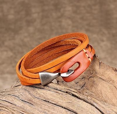Leather Hook Bracelet - Two Layer Leather Hook Bracelet - Couple Leather Hook Bracelet - Black Leather Bracelet - Blue Leather Bracelet - Brown Leather Bracelet - Green Leather Bracelet - Orange Leather Bracelet - Red Leather Bracelet Lux & Rose Orange