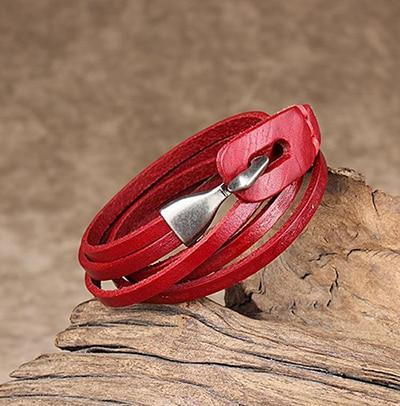Leather Hook Bracelet - Two Layer Leather Hook Bracelet - Couple Leather Hook Bracelet - Black Leather Bracelet - Blue Leather Bracelet - Brown Leather Bracelet - Green Leather Bracelet - Orange Leather Bracelet - Red Leather Bracelet Lux & Rose Red