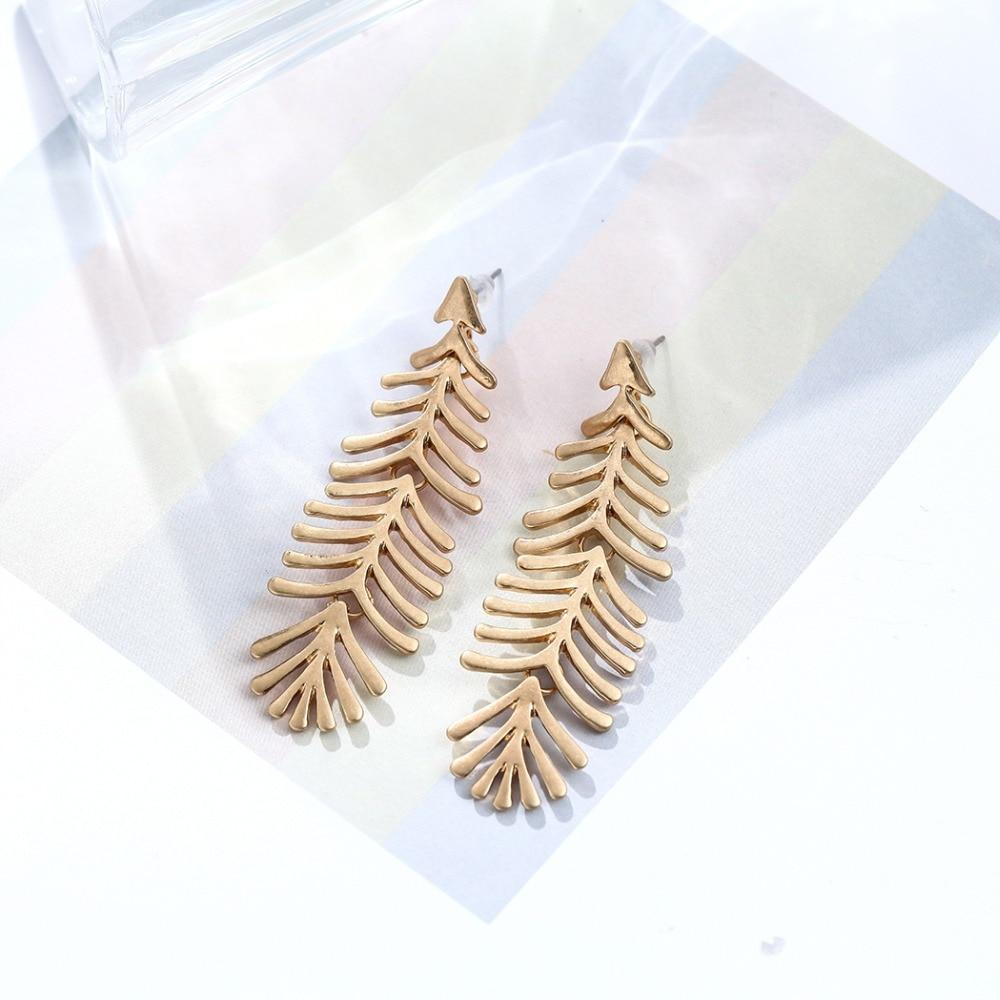 Long Fern Leaf Drop Stud Earrings - Stud Earrings - Plumage Stud Earrings - Vintage Earrings - Geometric Stud Earrings - Plume Stud Earring - Asymmetric Feather Earrings - Gold Fern Leaf Earrings - Silver Fern Leaf Earrings Lux & Rose