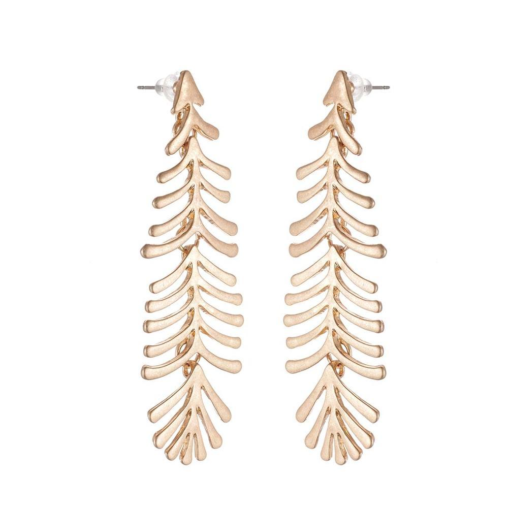 Long Fern Leaf Drop Stud Earrings - Stud Earrings - Plumage Stud Earrings - Vintage Earrings - Geometric Stud Earrings - Plume Stud Earring - Asymmetric Feather Earrings - Gold Fern Leaf Earrings - Silver Fern Leaf Earrings Lux & Rose Gold