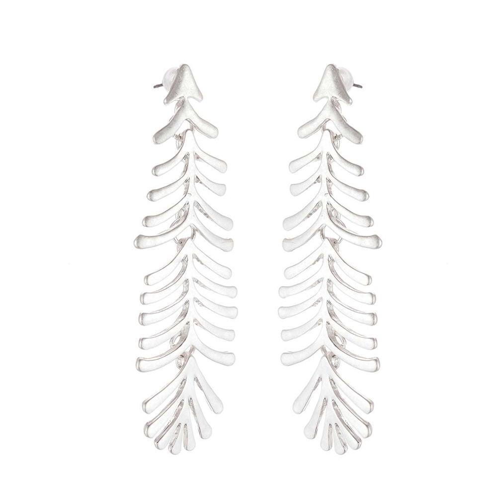 Long Fern Leaf Drop Stud Earrings - Stud Earrings - Plumage Stud Earrings - Vintage Earrings - Geometric Stud Earrings - Plume Stud Earring - Asymmetric Feather Earrings - Gold Fern Leaf Earrings - Silver Fern Leaf Earrings Lux & Rose Silver
