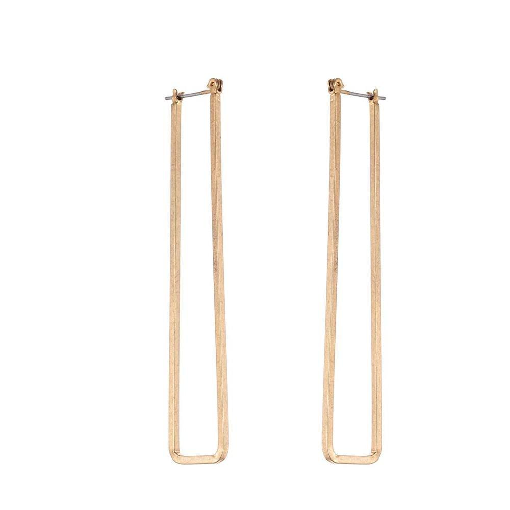Long Rectangle Hoop Earrings - Long Open Rectangle Earrings - Casual Open Rectangle Hoop Earrings - Rectangular Ear Hooks - Rustic Rectangle Hoop Earrings - Golden Rectangle Earrings - Silver Rectangle Earrings Lux & Rose Gold