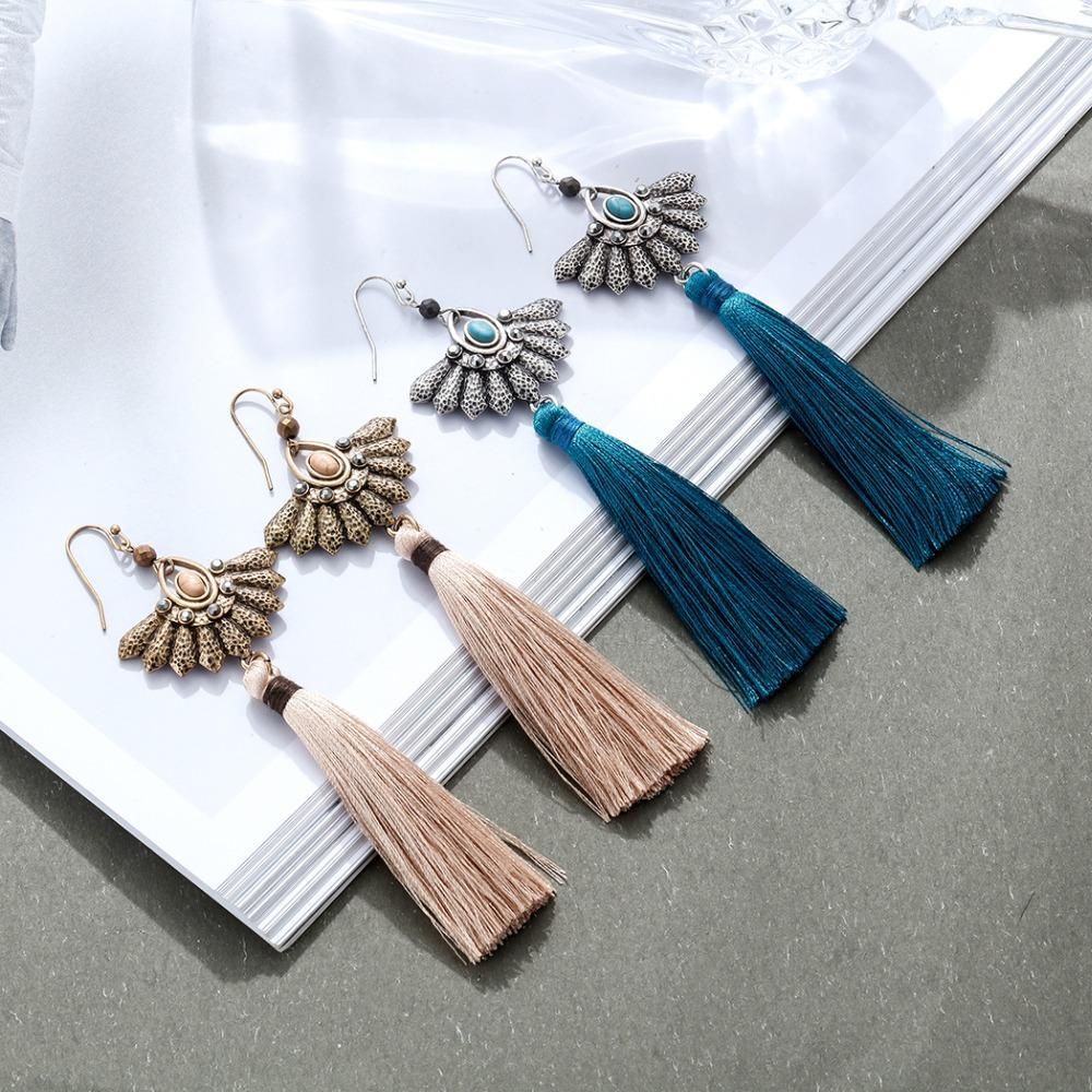 Long Thread Tassel Fringe Dangle Earrings - Long Thread Tassel Earrings - Fringe Earrings - Tassel Dangle Earrings - Fringe Dangle Earrings - Long Tassel Earrings - Tassel Fringe Earrings - Geometric Dangle Earrings Lux & Rose