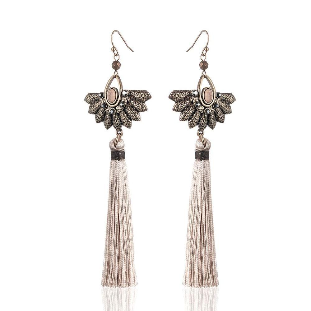 Long Thread Tassel Fringe Dangle Earrings - Long Thread Tassel Earrings - Fringe Earrings - Tassel Dangle Earrings - Fringe Dangle Earrings - Long Tassel Earrings - Tassel Fringe Earrings - Geometric Dangle Earrings Lux & Rose Brown