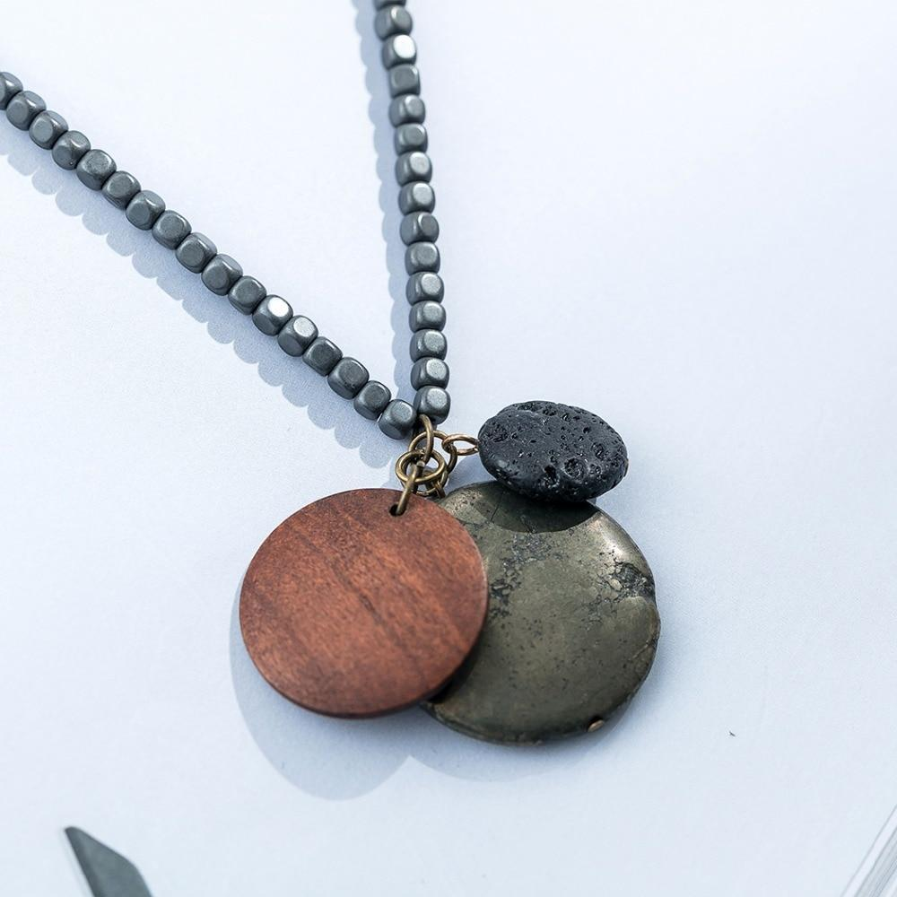 Nature Stone Wood Rock Pendant Necklace - Tiny Square Beads Chain - Round Wood Necklace - Lava Rock Necklace - Long Chain Necklace Lux & Rose