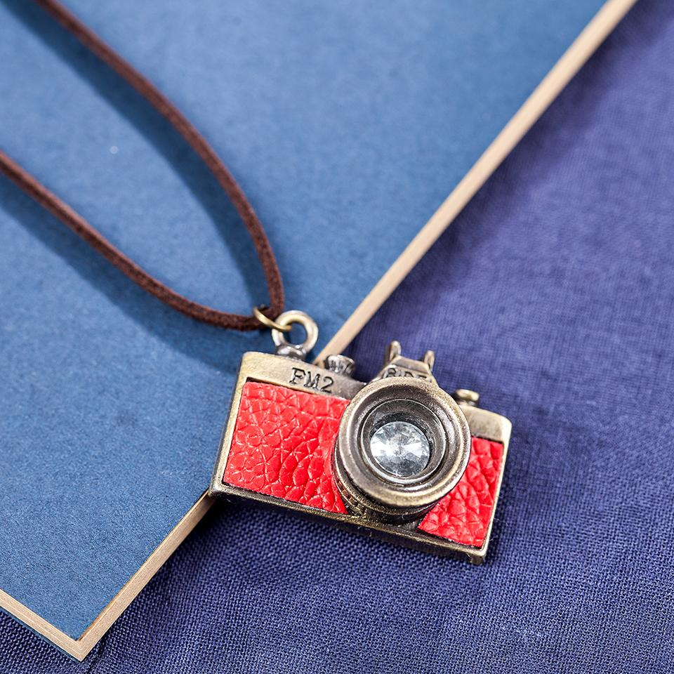 Red Camera Pendant Necklace - Long Rope Chain Necklace - Geometric Necklace - Red Camera - Photography Pendant Necklace - Camera Necklace Lux & Rose