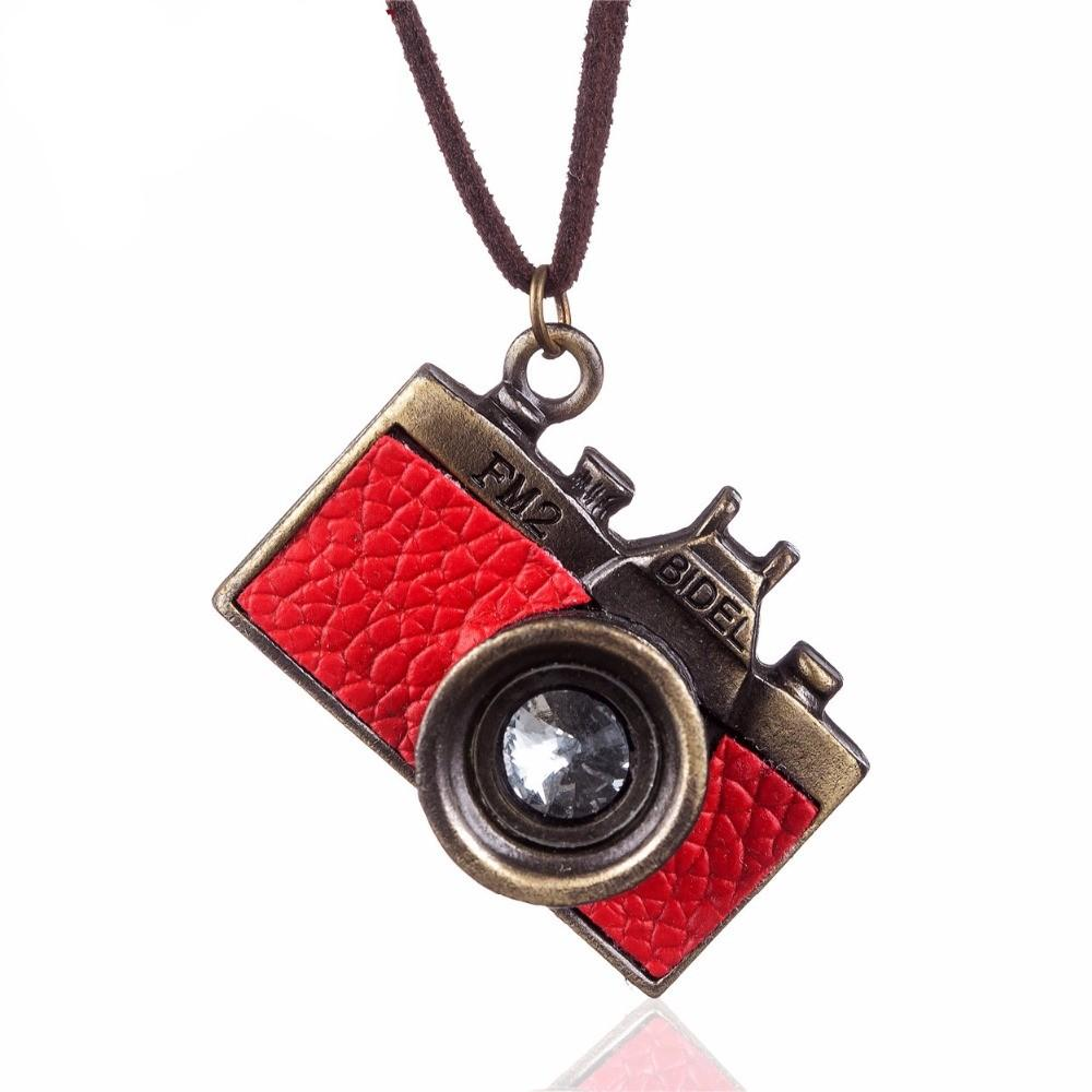 Red Camera Pendant Necklace - Long Rope Chain Necklace - Geometric Necklace - Red Camera - Photography Pendant Necklace - Camera Necklace Lux & Rose Default Title