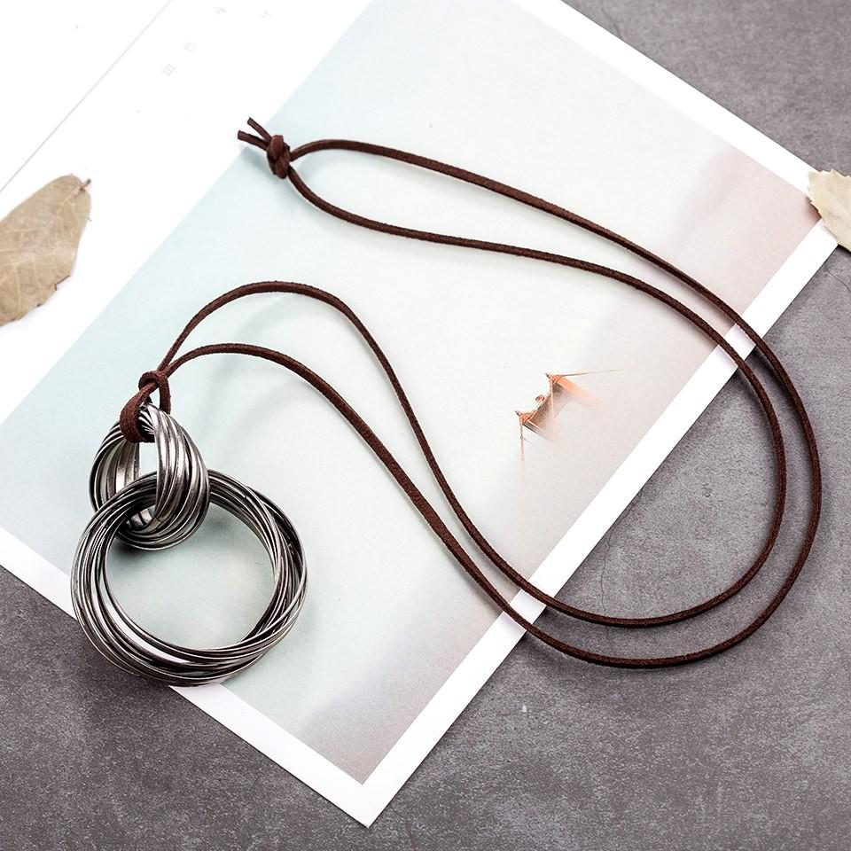 Rose Gold Color Circle Wire Necklace - Pre Tinned Push Back Wire Necklace - Oval Necklace - Circle Wire Necklace - Leather Rope Necklace - Pendant Necklace - Asymmetric Pendant Necklace - Geometric Necklace Lux & Rose