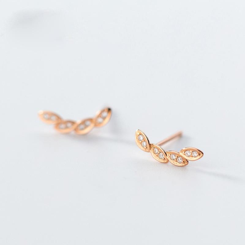 Rose Gold Plated Laurel Leaf Earrings - Sterling Silver Laurel Leaf Stud Earrings - Tiny Leaf Earrings - Rose Gold Laurel Studs Lux & Rose