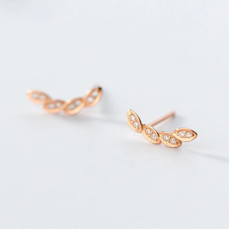 Rose Gold Plated Laurel Leaf Earrings - Sterling Silver Laurel Leaf Stud Earrings - Tiny Leaf Earrings - Rose Gold Laurel Studs Lux & Rose Default Title