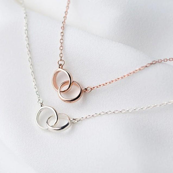 Sterling Silver 2 Hollow Round 41cm Necklace - 925 Real Silver Necklace - Classic Silver Necklace Lux & Rose