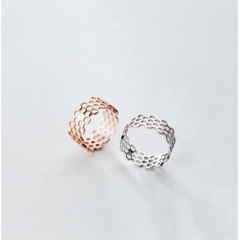 Sterling Silver 8mm Width Polygon Ring - 925 Real Silver Ring - Classic Silver Ring - Adjustable Cocktail Ring Lux & Rose
