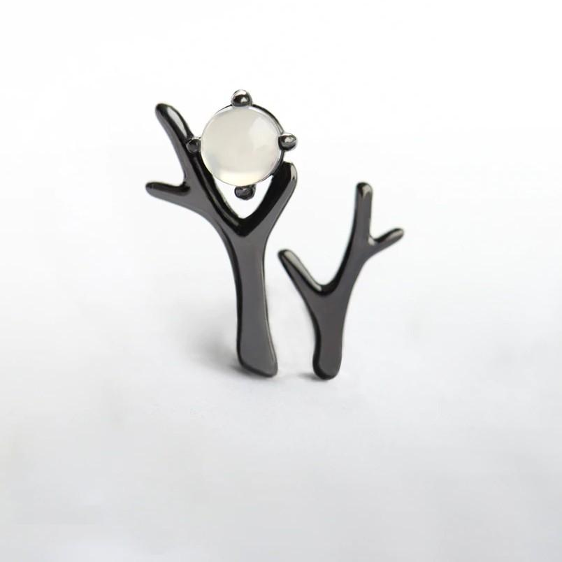 Sterling Silver Abstract Tree Moonstone Earrings - Asymmetrical Black Stud Earrings - 925 Real Silver Earrings - Playful Silver Earrings Lux & Rose Default Title