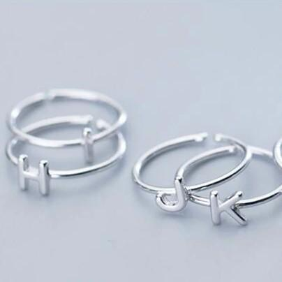 Sterling Silver Alphabet Letters A-Z Ring - 925 Real Silver Ring - Classic Silver Ring - Adjustable Cocktail Ring Lux & Rose