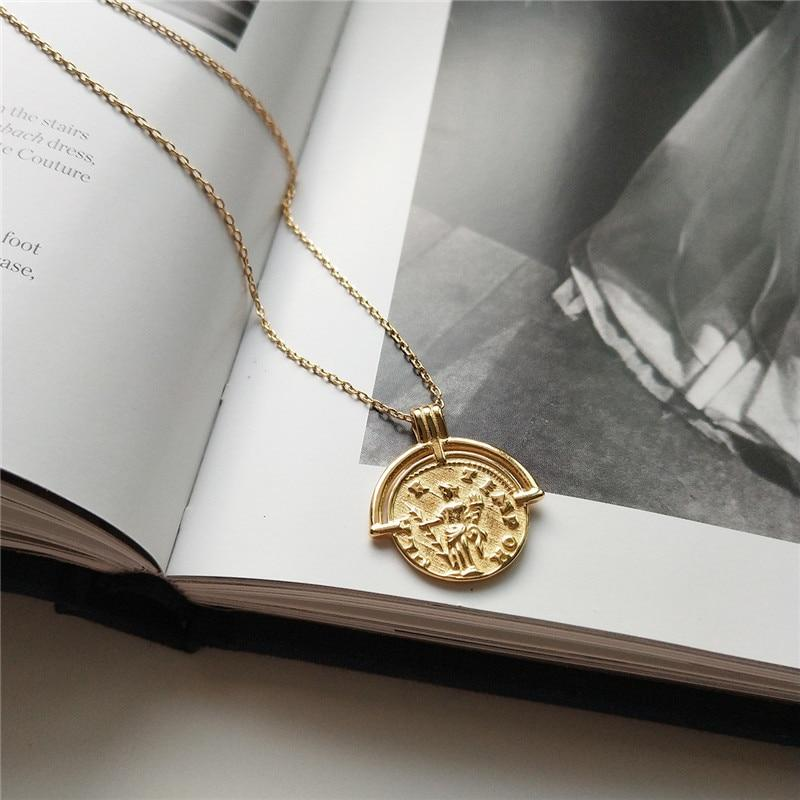 Sterling Silver Ancient Roman Pendant Necklace - 925 Real Silver Necklace - Gold Coin Necklace Lux & Rose