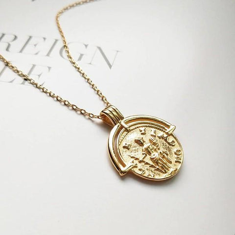 Sterling Silver Ancient Roman Pendant Necklace - 925 Real Silver Necklace - Gold Coin Necklace Lux & Rose Default Title