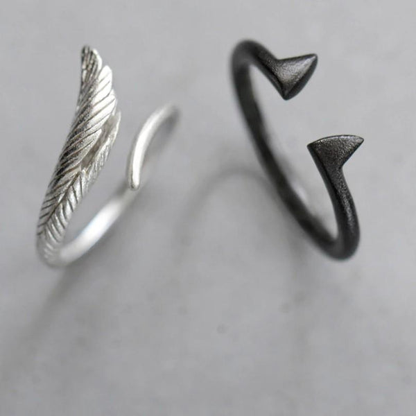 Sterling Silver Angel and Devil Couple Rings - 925 Real Silver Ring Set - Adjustable Silver Rings - Wings Ring - Black Devil Ring Lux & Rose