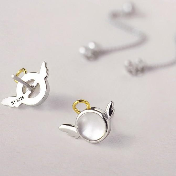 Sterling Silver Angel Wing Earrings - Long Stud Earrings - 925 Real Silver Earrings - Playful Silver Earrings Lux & Rose