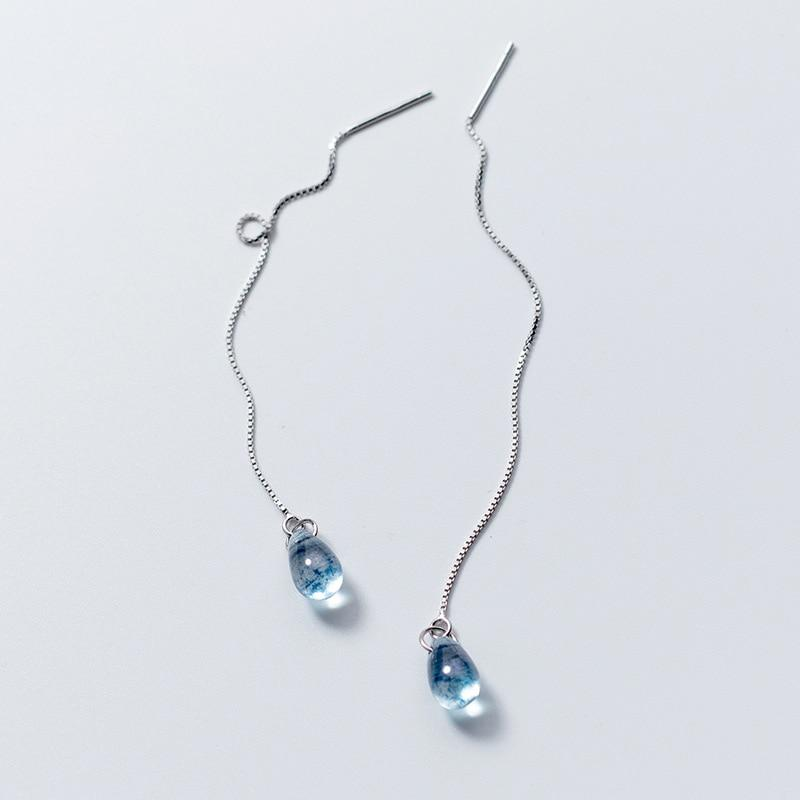 Sterling Silver Aqua Water Drop Threader Earrings - 925 Real Silver Earrings - Long Chain Earrings - Playful Silver Earrings - Linked Drop Stick Earrings - Modern Needle Threader Lux & Rose
