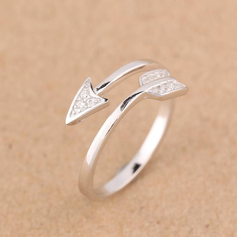 Sterling Silver Arrow Ring - 925 Real Silver Ring - Classic Silver Ring - Adjustable Cocktail Ring Lux & Rose