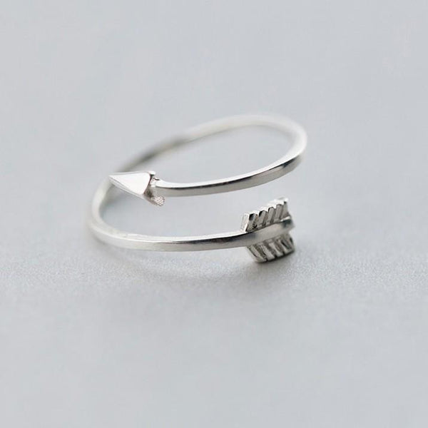 Sterling Silver Arrow Shape Ring - 925 Real Silver Ring - Classic Silver Ring - Adjustable Cocktail Ring Lux & Rose