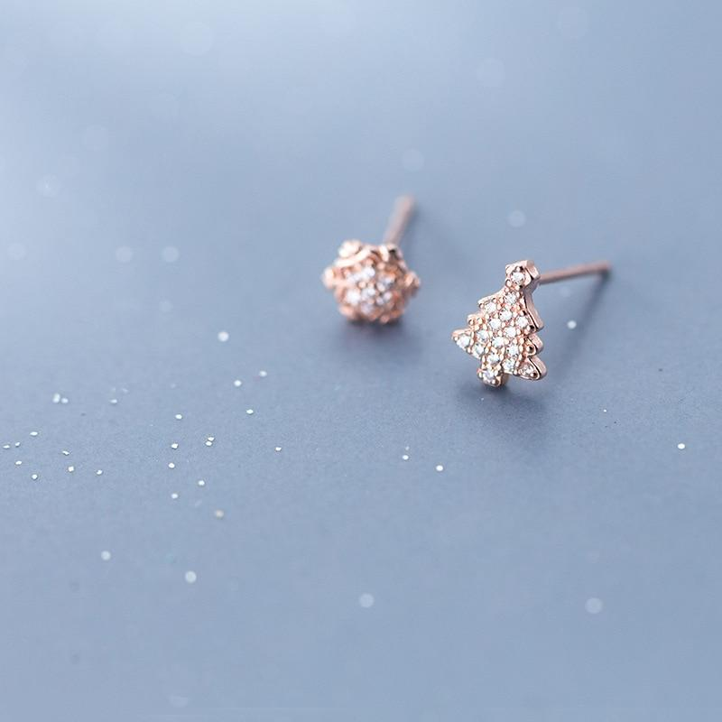 Sterling Silver Asymmetric Snow Tree - 925 Stud Earring - 925 Real Silver Earrings - Charming Silver Earrings Lux & Rose