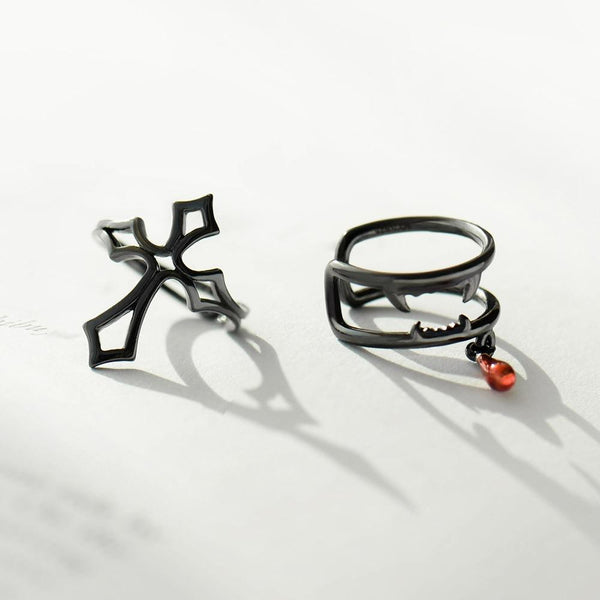 Sterling Silver Asymmetrical Cross Vampire Cuff Earrings - 925 Cuff Earrings - 925 Real Silver Earrings - Playful Silver Earrings Lux & Rose