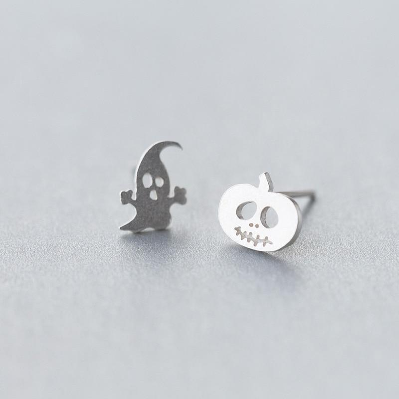 Sterling Silver Asymmetrical Halloween Studs - Tiny Ghost Pumpkin Stud Earrings - 925 Real Silver Stud Earring Lux & Rose