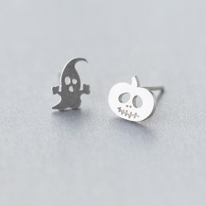 Sterling Silver Asymmetrical Halloween Studs - Tiny Ghost Pumpkin Stud Earrings - 925 Real Silver Stud Earring Lux & Rose Default Title