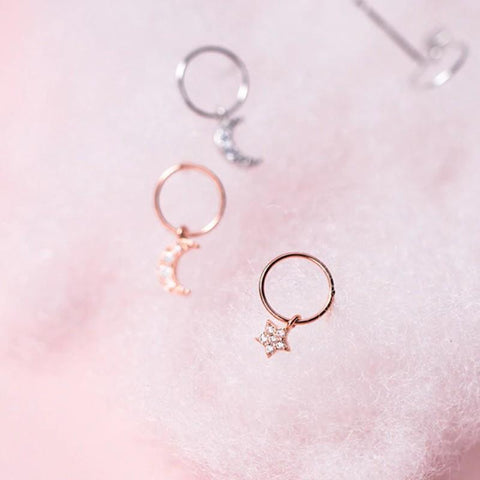 Sterling Silver Asymmetrical Hoop Crescent Moon Dangle Earrings - Rose Gold Plated Star Ear - Tiny Moon & Star Hoop Earrings Lux & Rose