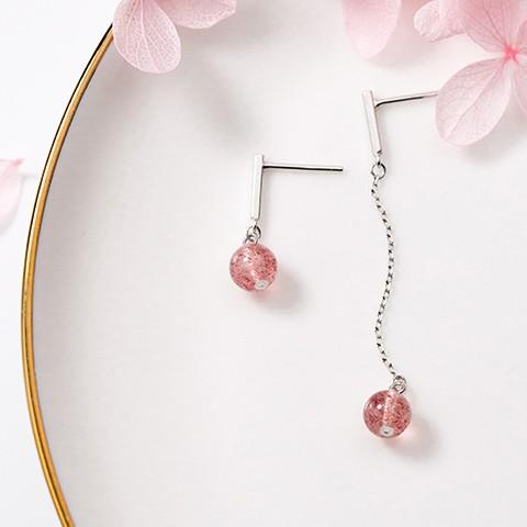 Sterling Silver Asymmetrical Round Strawberry Quartz Earrings - Long Dangle Earrings - 925 Real Silver Earrings - Playful Silver Earrings Lux & Rose