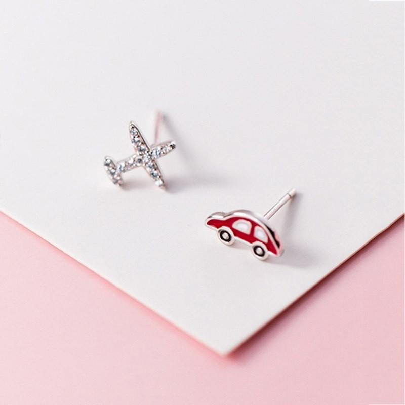 Sterling Silver Asymmetrical Zircon Aircraft Red Car Enamel Car Earrings - Stud Earrings - 925 Real Silver Earrings - Playful Silver Earrings Lux & Rose