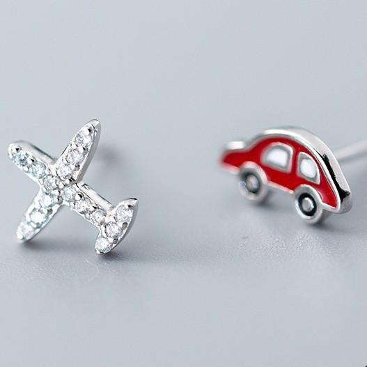 Sterling Silver Asymmetrical Zircon Aircraft Red Car Enamel Car Earrings - Stud Earrings - 925 Real Silver Earrings - Playful Silver Earrings Lux & Rose Default Title