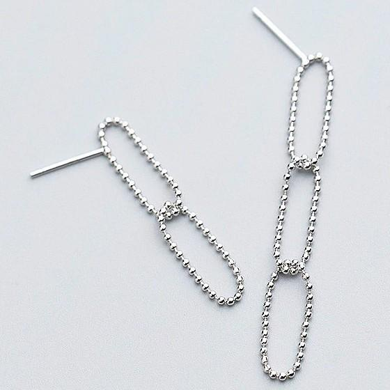 Sterling Silver Asymmetry Chain Earrings - Long Dangle Earrings - 925 Real Silver Earrings - Playful Silver Earrings Lux & Rose