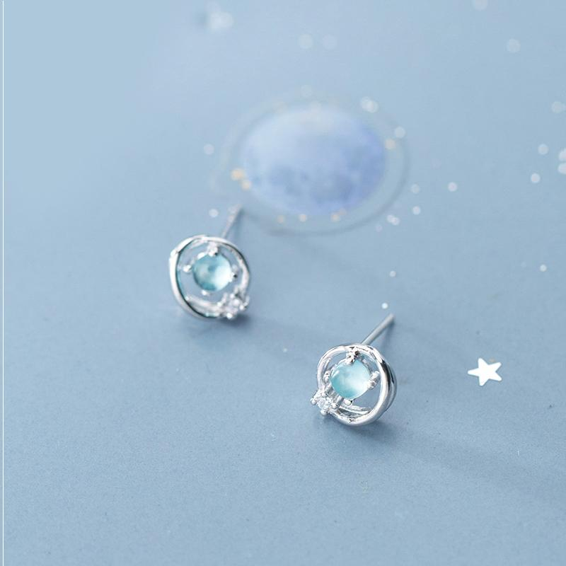 Sterling Silver Aurora Planet Zircon Earrings - 925 Stud Earrings - 925 Real Silver Earrings - Playful Silver Earrings Lux & Rose