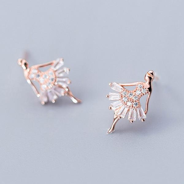 Sterling Silver Ballerina Stud Earrings - Tiny Dancer Ear Studs - 925 Real Silver Earrings - Playful Silver Earrings Lux & Rose 1 Pair Rose