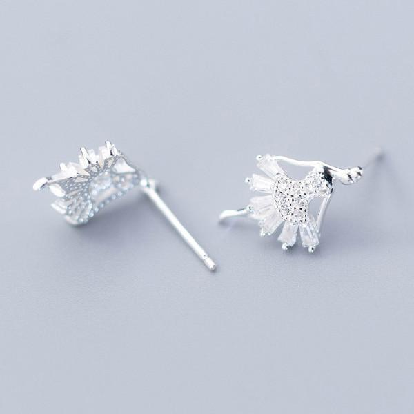 Sterling Silver Ballerina Stud Earrings - Tiny Dancer Ear Studs - 925 Real Silver Earrings - Playful Silver Earrings Lux & Rose 1 Pair Silver