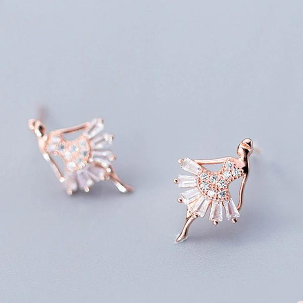 Sterling Silver Ballerina Stud Earrings - Tiny Dancer Ear Studs - 925 Real Silver Earrings - Playful Silver Earrings Lux & Rose