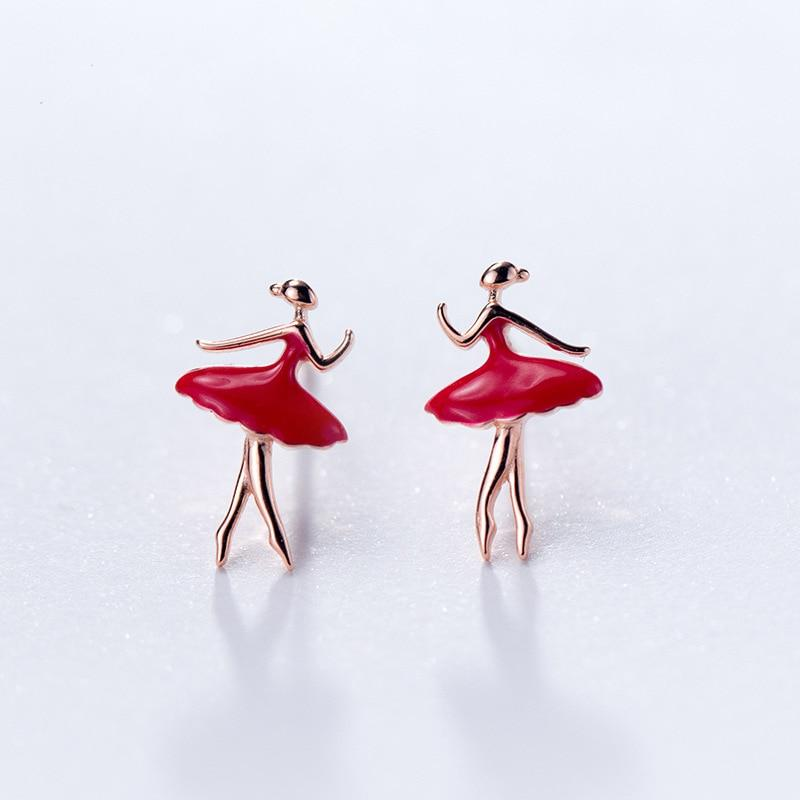 Sterling Silver Ballet Dancer Stud Earrings - 925 Ballerina Stud Earrings - Rose Gold Plated Ballerina Earrings - Tiny Ballerina Studs - Cute Silver Earrings Lux & Rose 1 Pair Rose